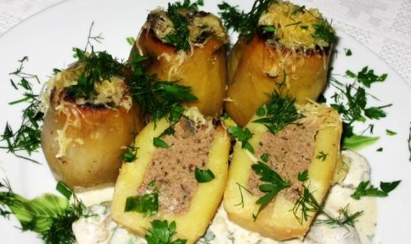 Картофель, начиненный печенью